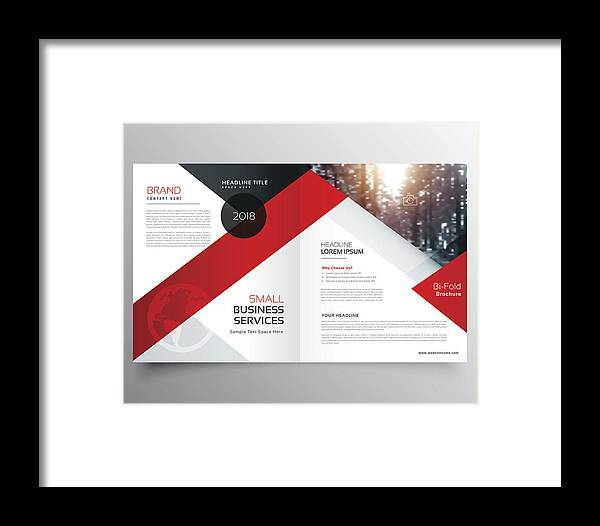 Modern Business Bifold Brochure Design Template Or Magazine Page Design Framed Print