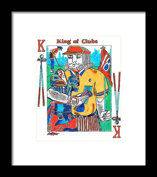 Modern King O'clubs Framed Print featuring the drawing Modern King O' Clubs by Seth Weaver
