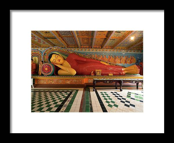 Modern Reclining Buddha At Isurumuniya Framed Print by Panoramic Images