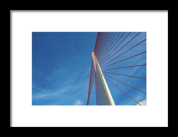 Hanging Framed Print featuring the photograph Modern Suspension Bridge by Phung Huynh Vu Qui