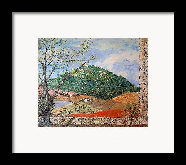 Green Hill Framed Print featuring the painting Mole Hill Greets The Morning - Sold by Judith Espinoza