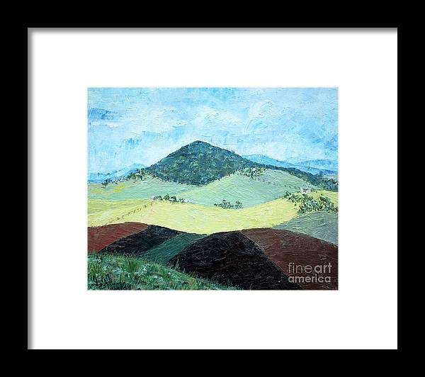 Centered Mole Hill With Dark Foreground; Plowed Fields Framed Print featuring the painting Mole Hill - SOLD by Judith Espinoza