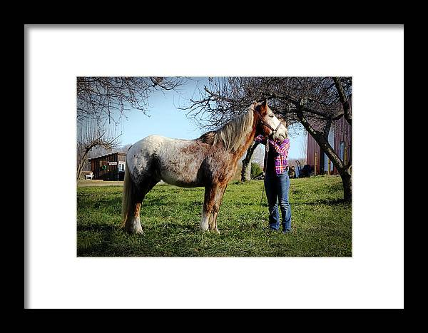 Molly And Her Horse Framed Print featuring the photograph Molly And Her Horse by Jillian Barrile