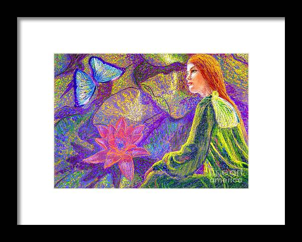 Abstract Framed Print featuring the painting Meditation, Moment of Oneness by Jane Small