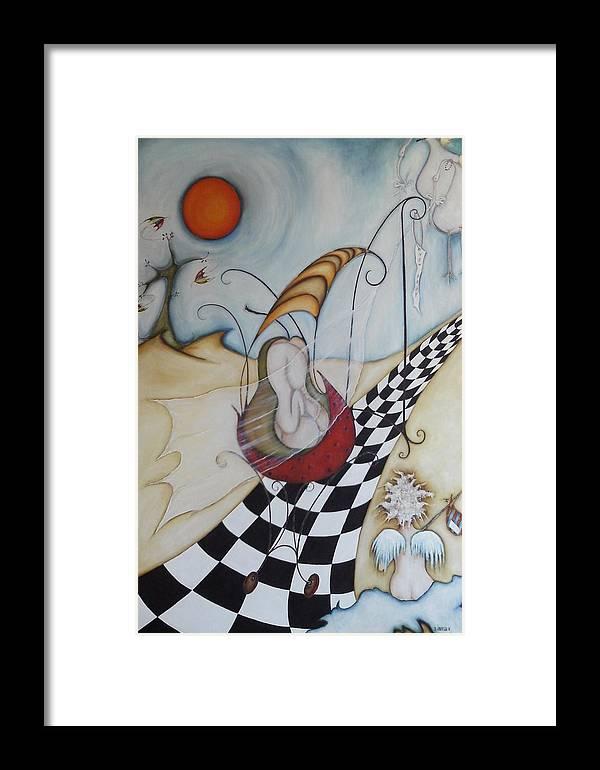Moon Framed Print featuring the painting Momo-07 by Belen Jauregui