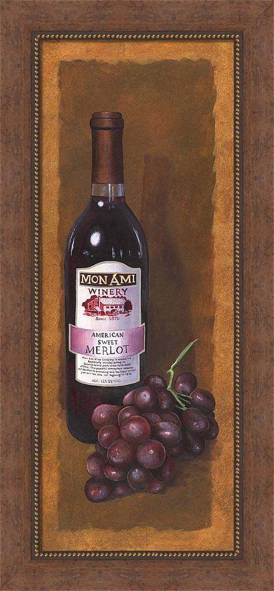 Wine Artwork Framed Print featuring the painting Mon Ami Merlot by Terri Meyer