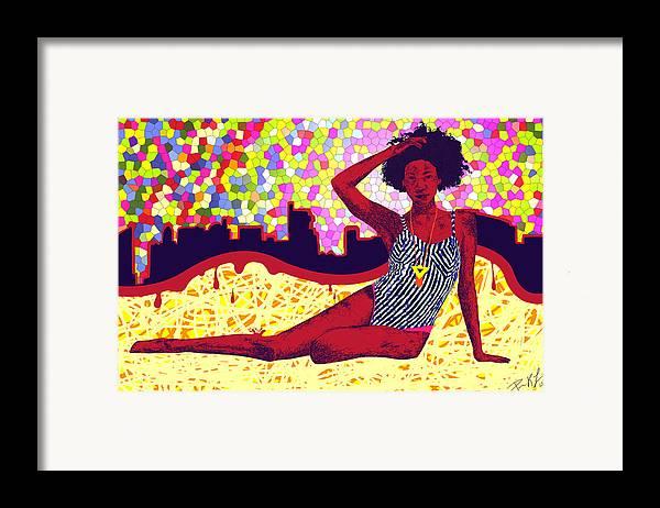 Mona Sur La Plage Urbaine Framed Print featuring the painting Mona Sur La Plage Urbaine by Kenal Louis
