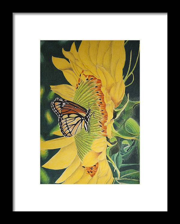 Nature Framed Print featuring the painting Monarch summer by Wade Clark
