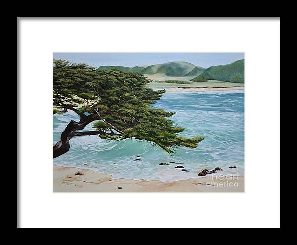 Beach Framed Print featuring the painting Monastery Beach by Mary Rogers