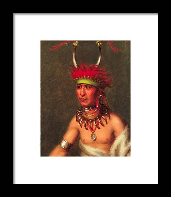 Charles Bird King Framed Print featuring the painting Monchousia . White Plume Kansa by Charles Bird King