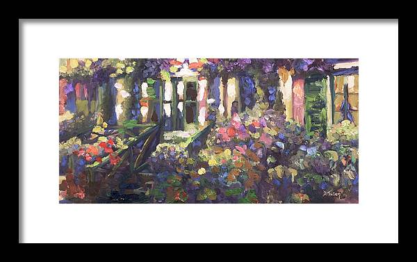 Monet Framed Print featuring the painting Monet's Home In Giverny by Donna Tuten