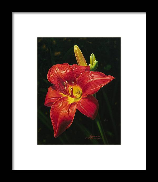 Lily Framed Print featuring the painting Monikas Red Lily by Gary Hernandez