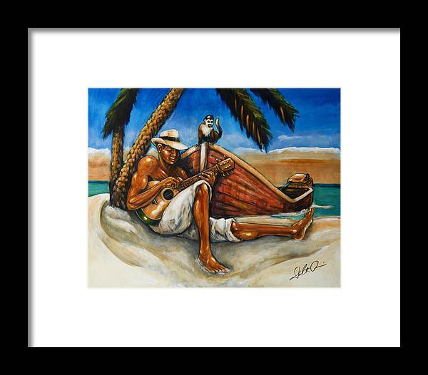 Island Painting Framed Print featuring the painting Monkey Business by Daryl Price