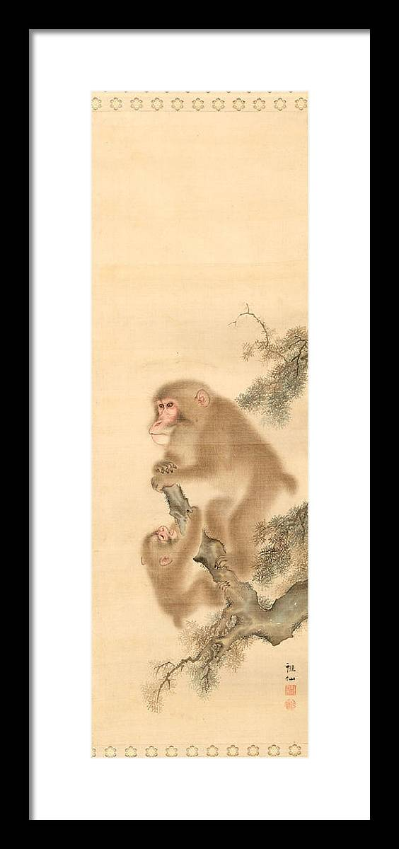 Mori Sosen Framed Print featuring the painting Monkeys by Mori Sosen