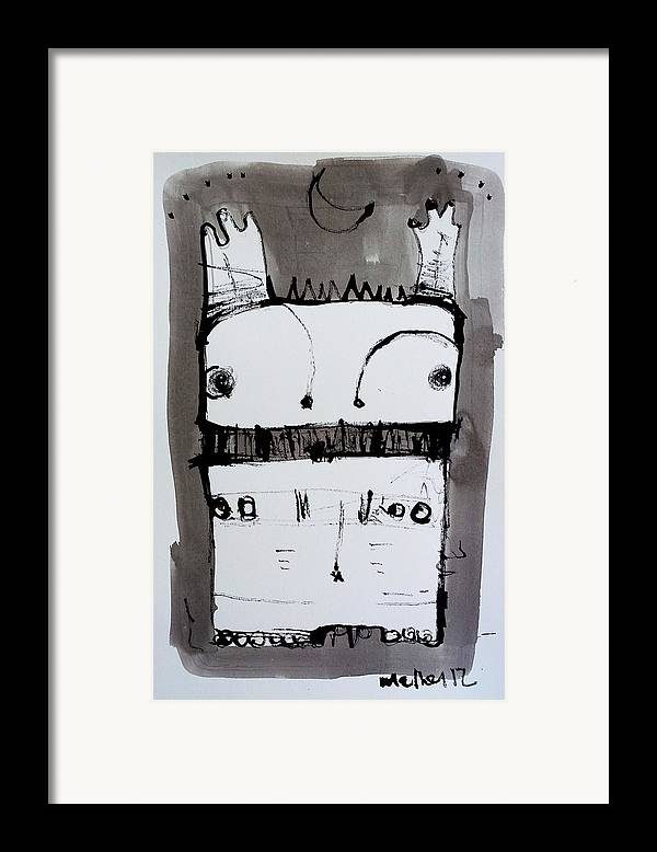 Sumi Framed Print featuring the drawing Monstra No. 1 by Mark M Mellon