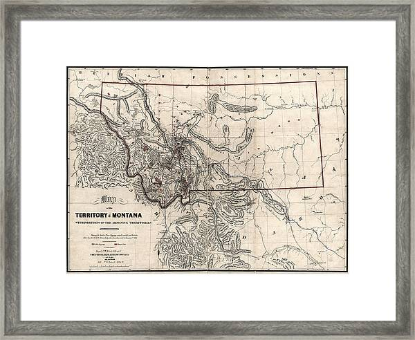 photograph about Printable Map of Montana known as Montana Gold And Silver Diggings Map 1865 Framed Print