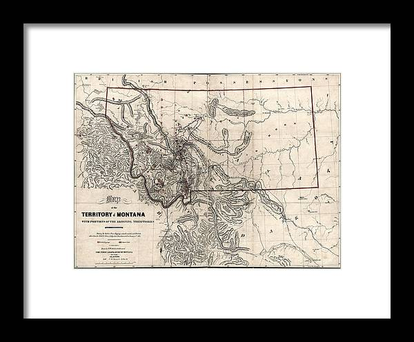 Montana Gold And Silver Diggings Map 1865 Framed Print on