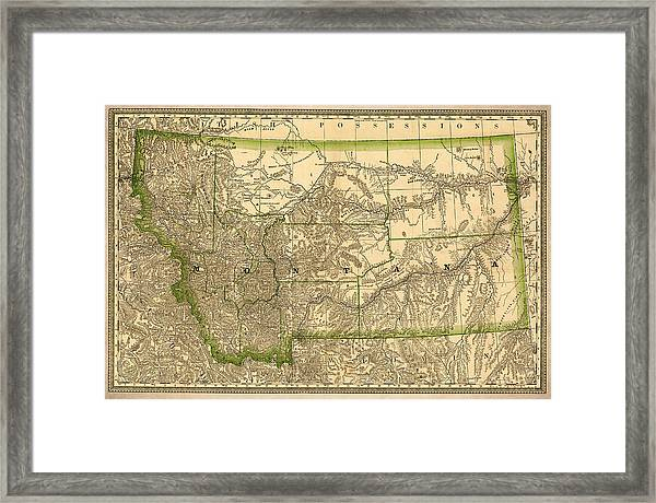 Montana Vintage Antique Map Framed Print By World Art
