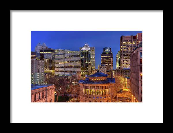 Tranquility Framed Print featuring the photograph Montreal Downtown At Dusk Hdr II by Jean Surprenant