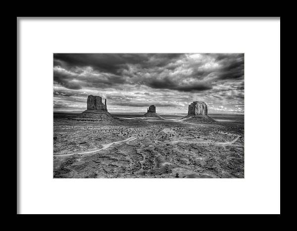Monument Valley Framed Print featuring the photograph Monument Valley Black And Withe by Glen Jensen