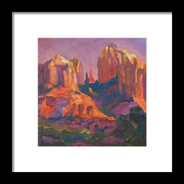 Red Rock Framed Print featuring the painting Monument Valley by Christine Lytwynczuk