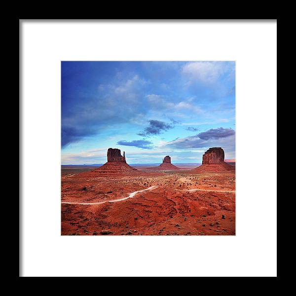 Tranquility Framed Print featuring the photograph Monument Valley Cool Light After Sunset by Utah-based Photographer Ryan Houston