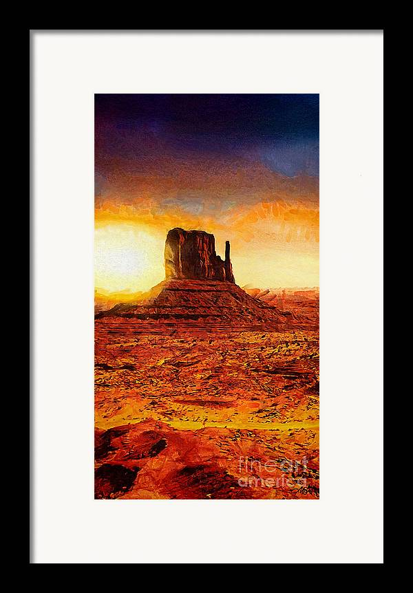 Monument Valley Framed Print featuring the painting Monument Valley by Mo T