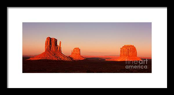Monument Framed Print featuring the photograph Monument Valley Sunset Pano by Jane Rix