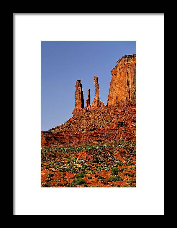 Monument Valley Framed Print featuring the photograph Monument Valley - The Three Sisters by Christine Till