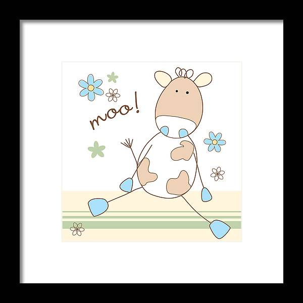 Cow Framed Print featuring the digital art Moo by Cath Ager