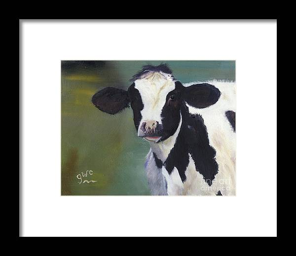 Holstein Framed Print featuring the painting Moo-lah by Gloria Condon