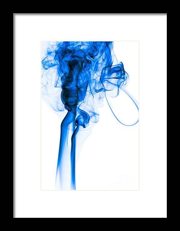 Mood Colored Abstract Vertical Deep Blue Smoke Art 01 Framed Print