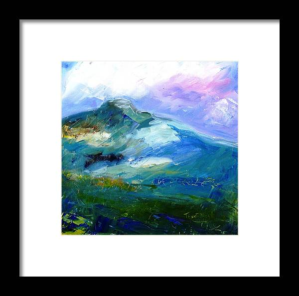 Forty Shades Of Green Framed Print featuring the painting Moody Sky Over Eagle Hill In Spring by Trudi Doyle