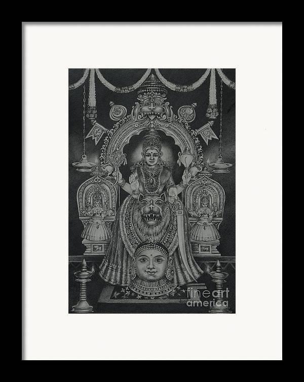 Hindu Goddess Framed Print featuring the drawing Mookambika Devi by Asha Sasikumar