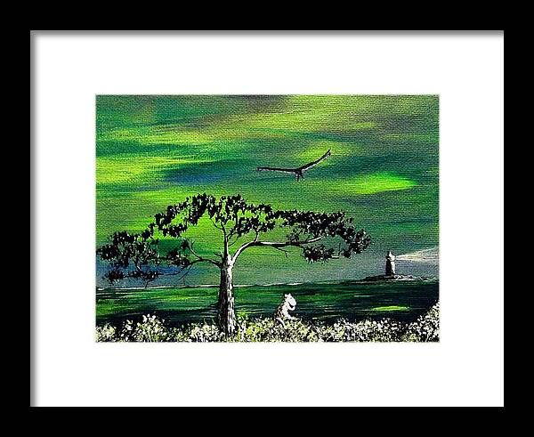 Decotarive Framed Print featuring the painting Moomintroll And Lighthouse by Anastasiya Malakhova