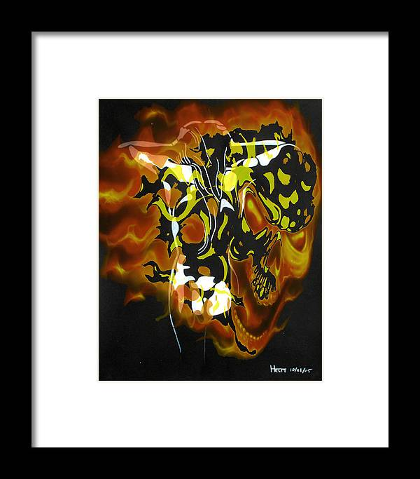 Lovers Paintings Framed Print featuring the digital art Moon Bath With Burning Skull by Mayhem Mediums