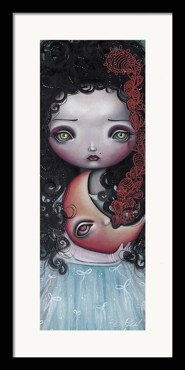 Moon Framed Print featuring the painting Moon Keeper by Abril Andrade Griffith