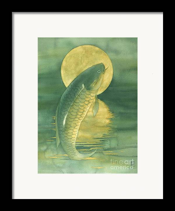 Watercolor Framed Print featuring the painting Moon Koi by Robert Hooper