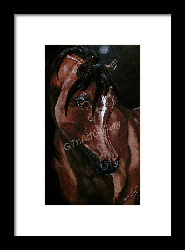 Horse Framed Print featuring the painting Moon Light by Gulalek Esenowa