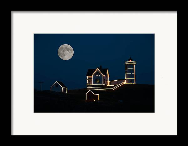 Atlantic Ocean Framed Print featuring the photograph Moon Over Cape Neddick by Guy Whiteley
