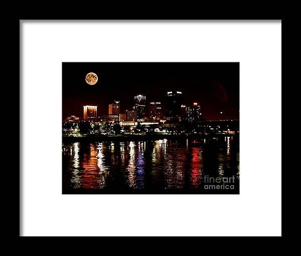 Little Rock Photographs Framed Print featuring the photograph Moon Over Little Rock - No.411 by Joe Finney