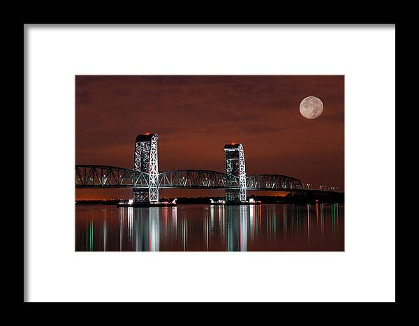 Bridges Framed Print featuring the photograph Moon Over Marine Parkway Bridge - Gil Hodges Memorial Bridge by Gary Heller