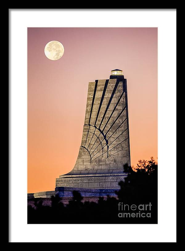 Barrier Island Framed Print featuring the pyrography Moon Over Memorial by Dan Waters