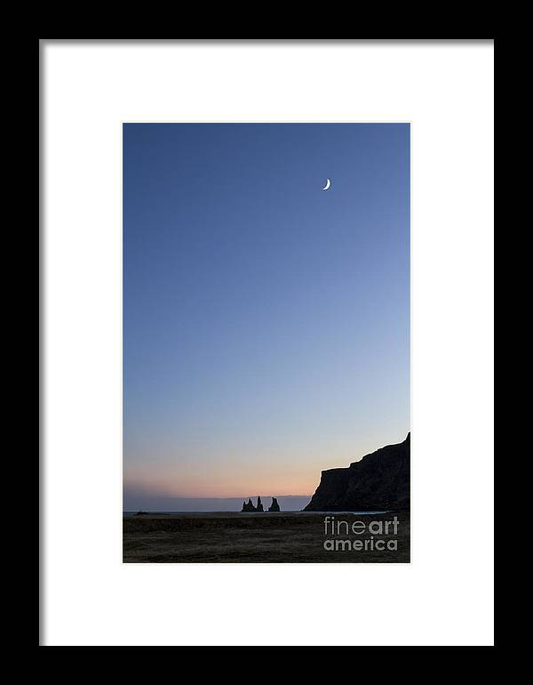 Vik Framed Print featuring the photograph Moon Over Vik by Evelina Kremsdorf