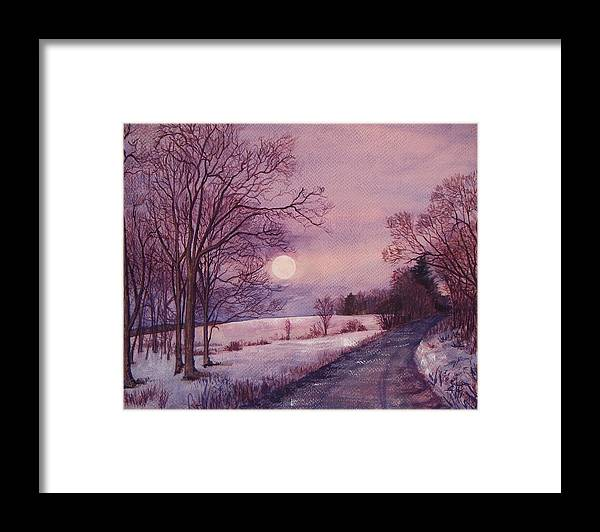 Watercolor Painting Framed Print featuring the painting Moon Rising by Joy Nichols