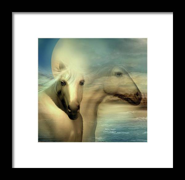 Horse Framed Print featuring the mixed media Moon Sisters by Carol Cavalaris