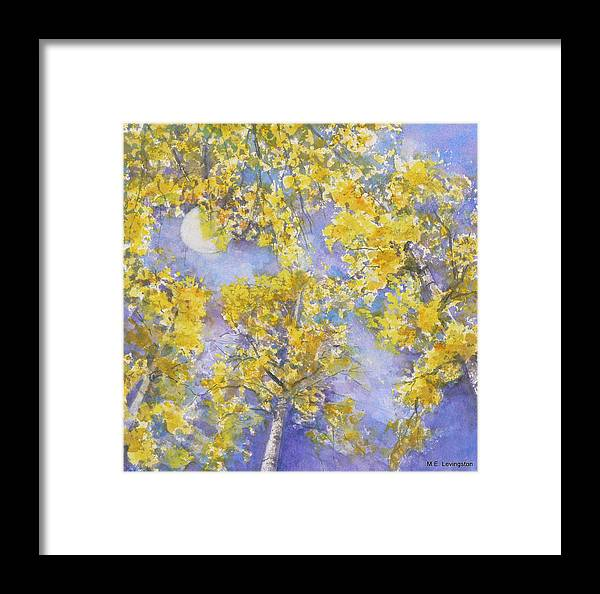 Framed Print featuring the painting Moon Through Aspen by Mary Levingston