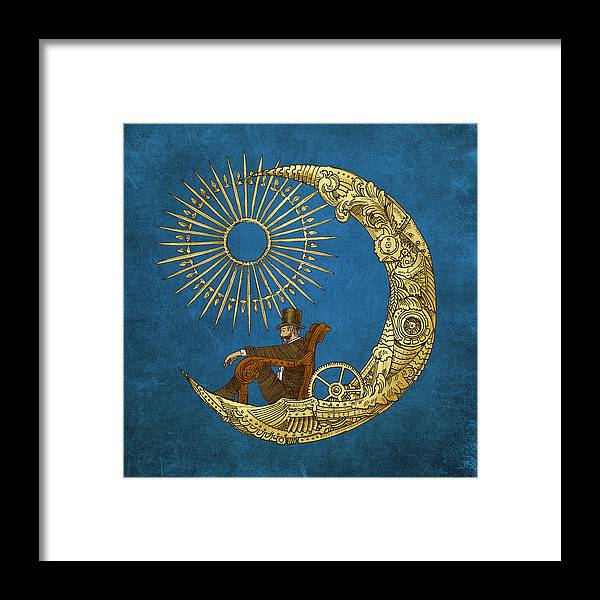 Blue Framed Print featuring the digital art Moon Travel by Eric Fan