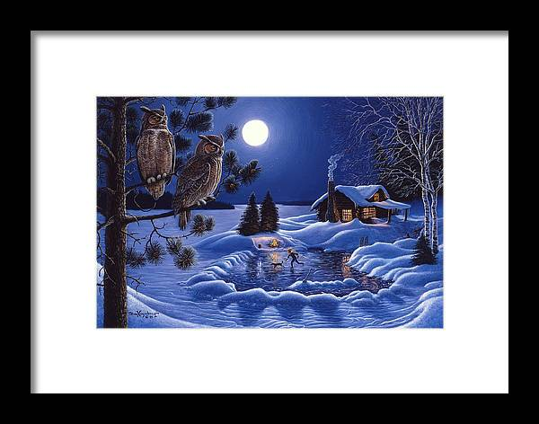 Great Horned Owls By The Cabin Framed Print featuring the painting Moonlight Magig-great Horned Owls by Don Ningewance