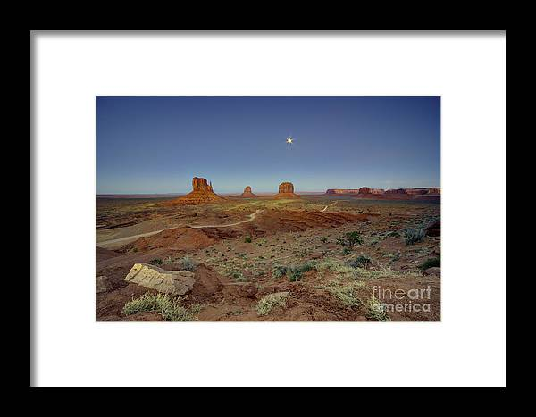 Monument Framed Print featuring the photograph Moonlight Over Monument Valley by Rob Hawkins